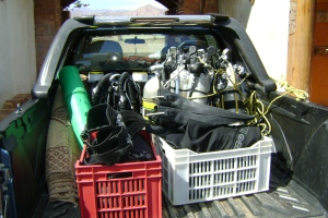 Equipment ready for the Blue Hole