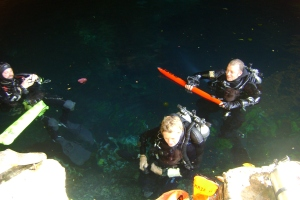 Buoy deployment in the cenote