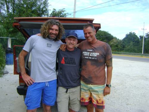 Garry Dallas, Kris Harrison and Tom Steiner. At Cenote Tajma-Ha for Garry's final evaluation day of cave diving. TDI full cave instructor course with TDI cave IT Kris Harrison @ Sirius Diving